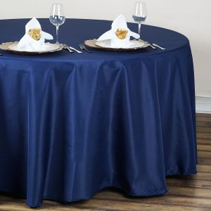 Navy Blue Polyester Tablecloth Round Table