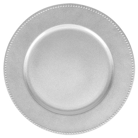 Silver Plate Beaded Charger Rental