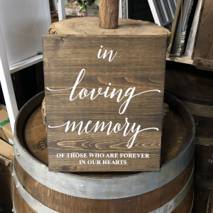 in loving memory of wooden rustic