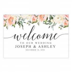 Boho Peach Coral Welcome Sign
