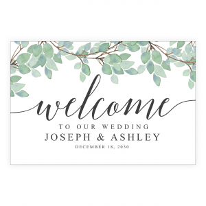 Greenery Simple Eucalyptus Welcome Sign