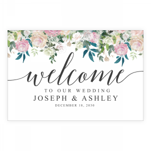 Navy Blue Blush Welcome Sign