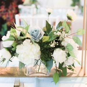 Slate Blue Wedding Centerpiece