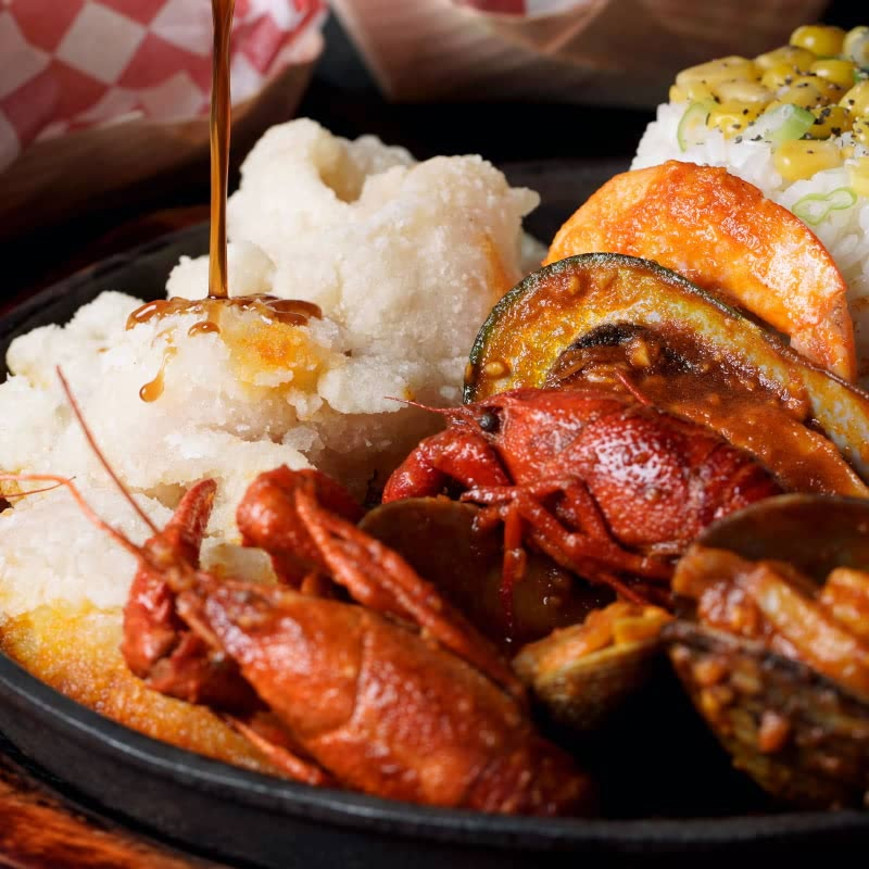 sumptuous seafood meal and platters